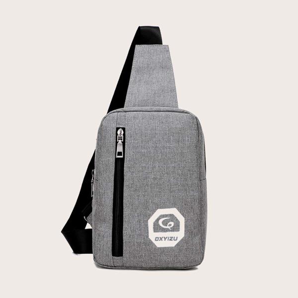Men Letter Graphic Zip Front Sling Bag, Grey