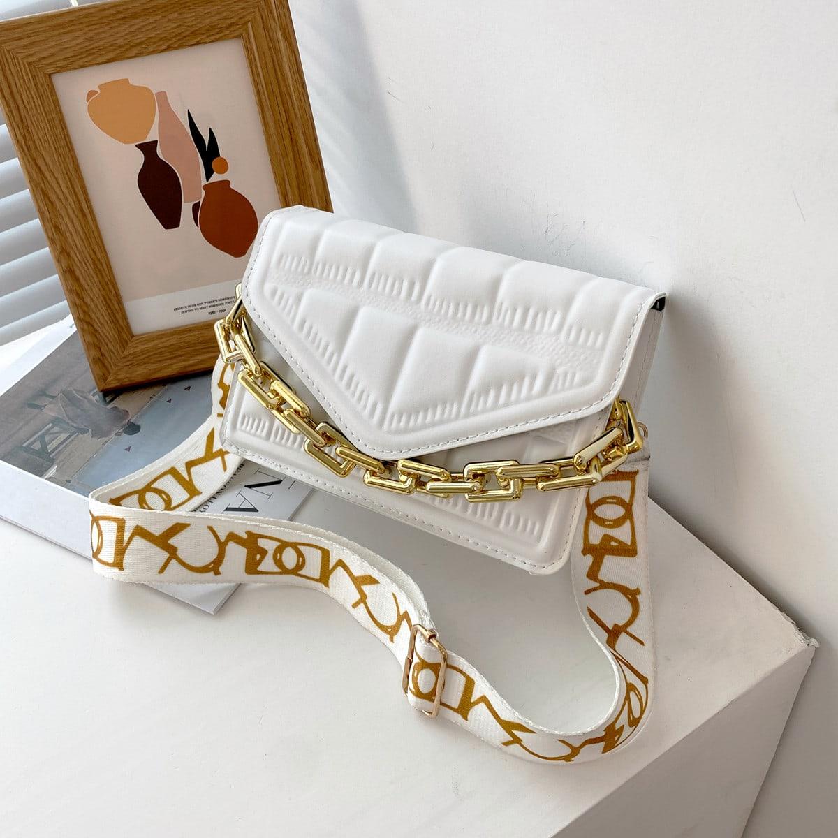Минималистичная сумка-сэтчел с цепочкой из зерненого камня