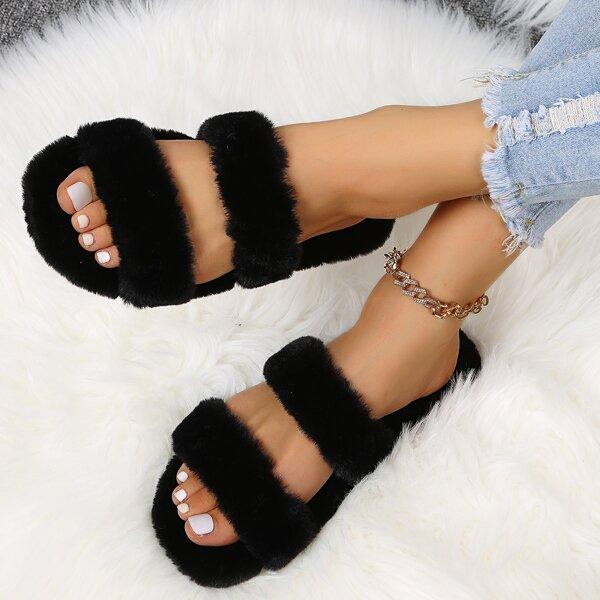 Minimalist Fluffy Slide Sandals, Black