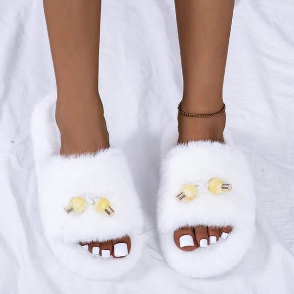 Beaded Decor Fuzzy Slide Sandals, White