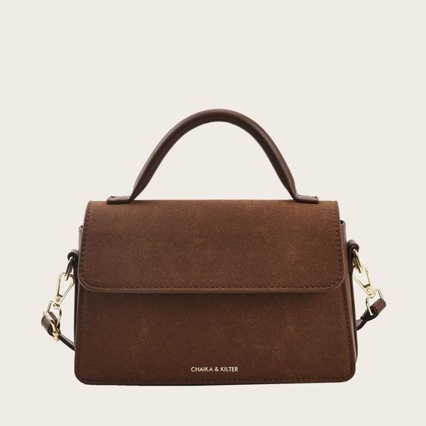 Minimalist Flap Baguette Bag, Coffee brown