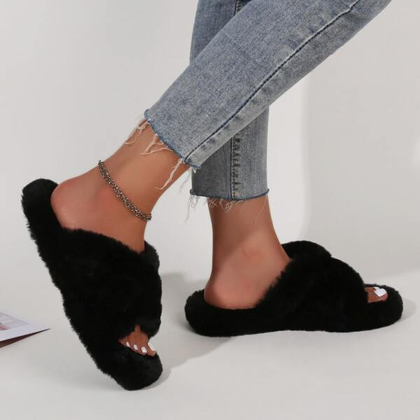 Fuzzy Crossover Slippers, Black