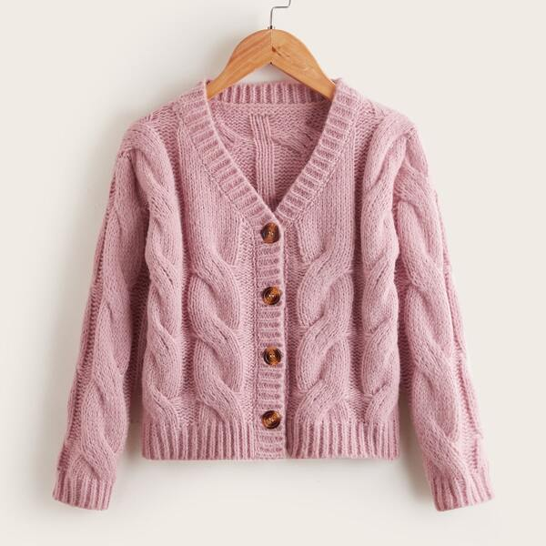 Girls Solid Cable Knit Button Up Cardigan, Dusty pink