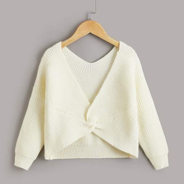 Girls Solid Twist Ribbed Knit Sweater, Beige