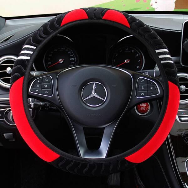 Cat Print Steering Wheel Cover, Red