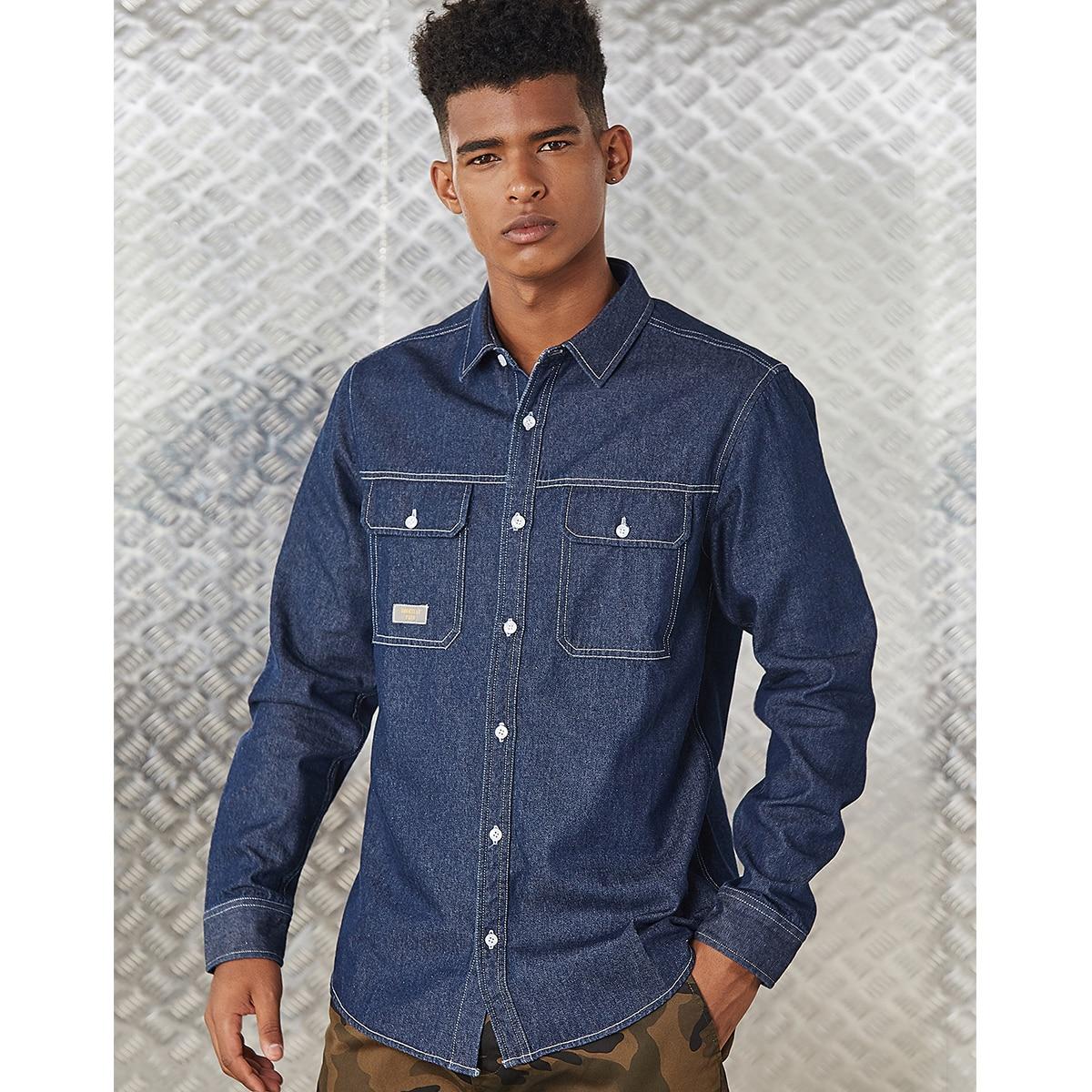Мужская джинсовая рубашка с карманом