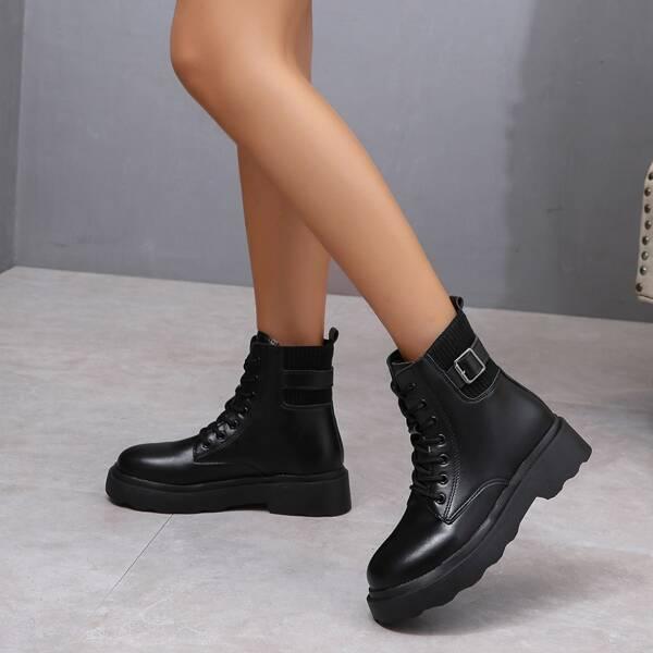 Minimalist Buckle Decor Lace Up Front Combat Boots, Black
