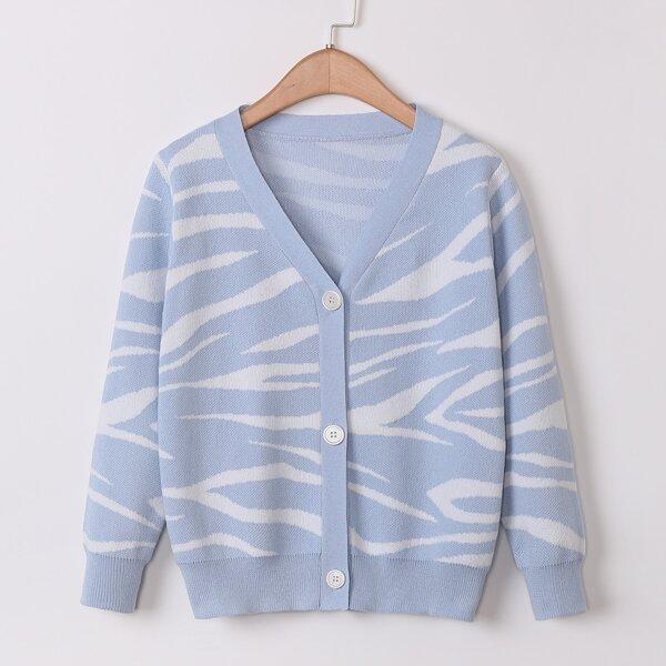 Girls Zebra Striped Cardigan, Dusty blue