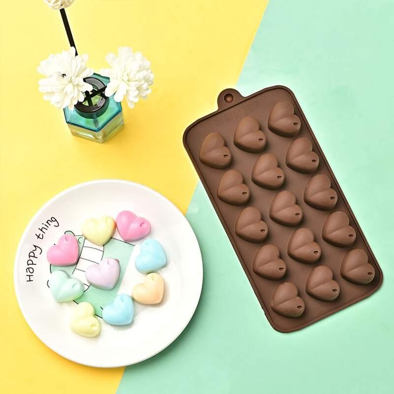 1pc 15 Grid Heart Chocolate Mold, Coffee brown