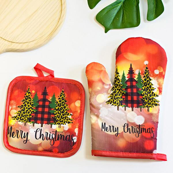 1pc Christmas Pattern Microwave Oven Glove & 1pc Insulation Pad, Multicolor
