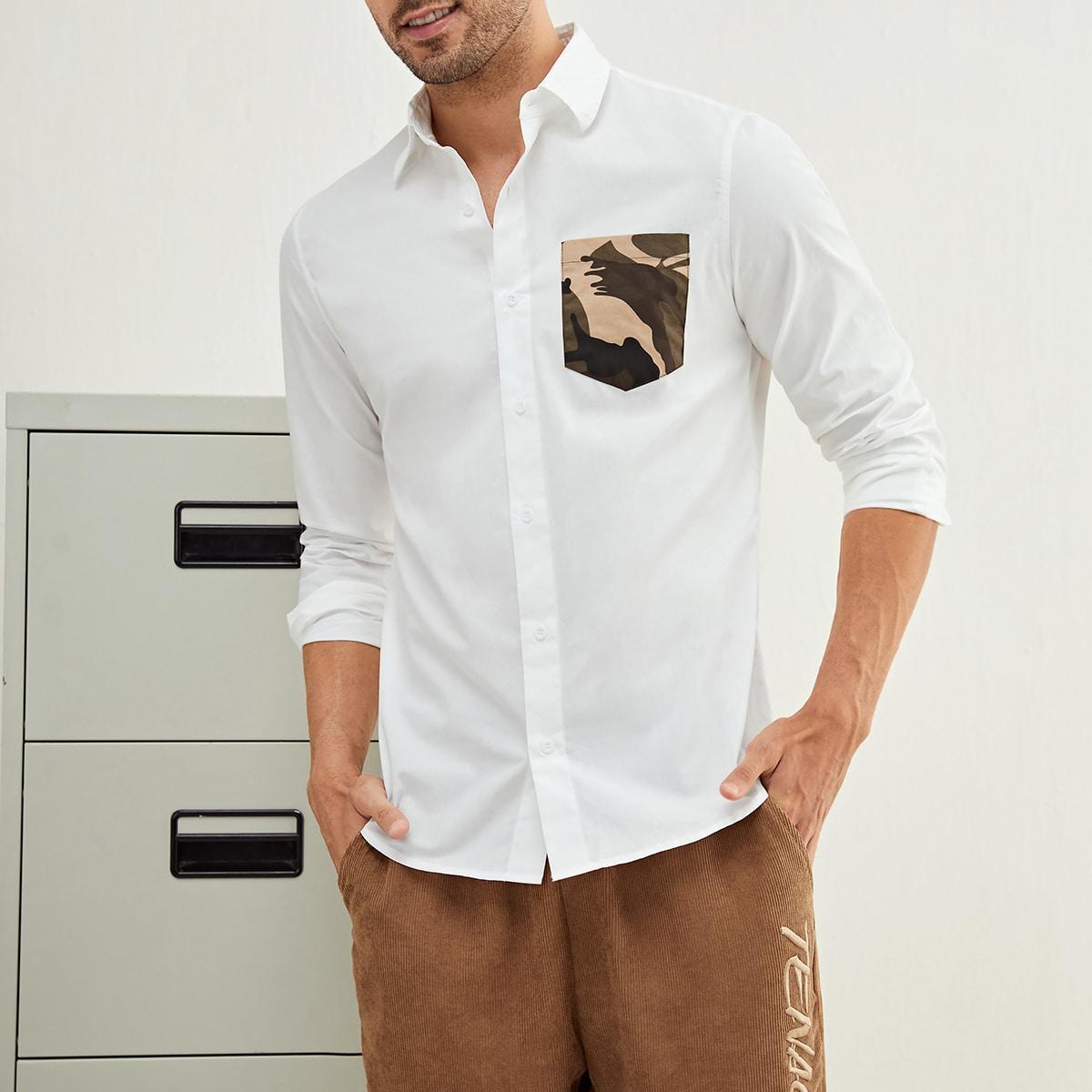 для мужчины Рубашка с камуфляжным принтом заплатка с карманом