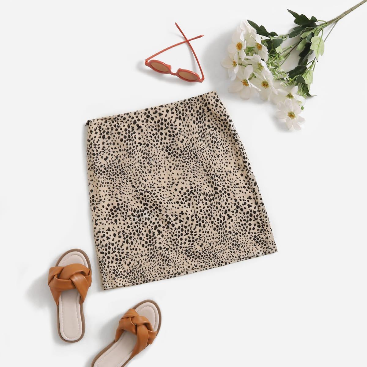 Girls Elastic Waist Dalmatian Print Skirt