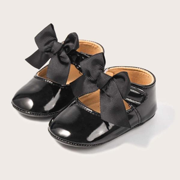 Baby Bow Decor Flats, Black