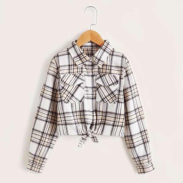 Girls Plaid Button Front Flap Pocket Tie Front Jacket, Multicolor