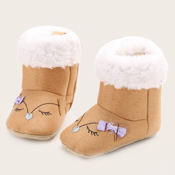 Baby Cartoon Design Fluffy Boots, Apricot