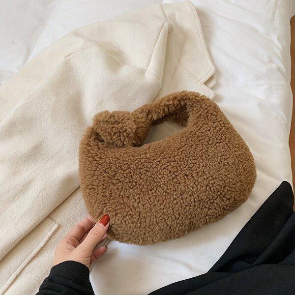 Minimalist Fluffy Satchel Bag, Brown