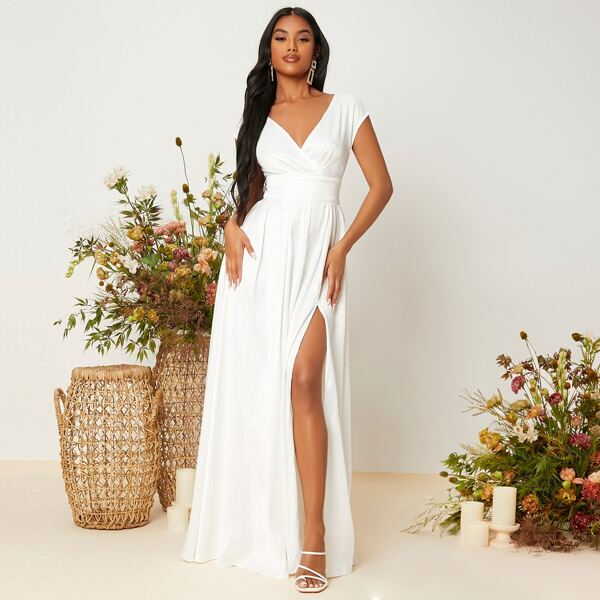 Cut Out Back Overlap Collar Slit Thigh Satin Prom Dress, White