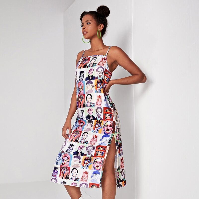 Figure Graphic Split Thigh Cami Dress, Multicolor