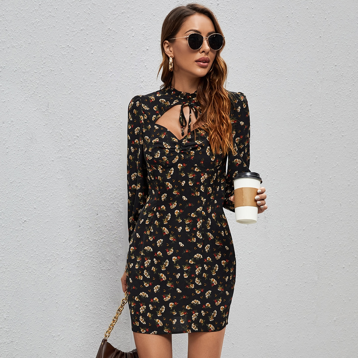 Ditsy Floral Cut Out Slim Dress