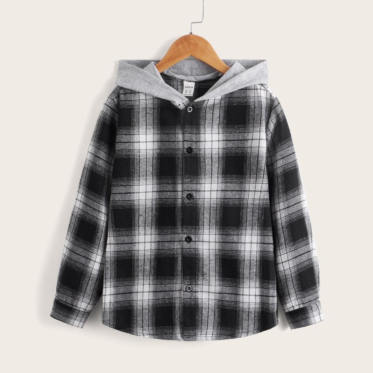 для мальчиков Рубашка в клетку на пуговицах