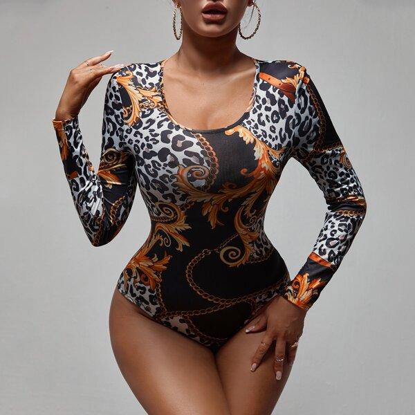 Leopard & Chain Print Scoop Neck Bodysuit, Multicolor