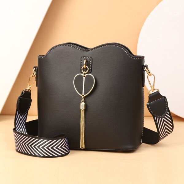 Metal Decor Bucket Bag, Black
