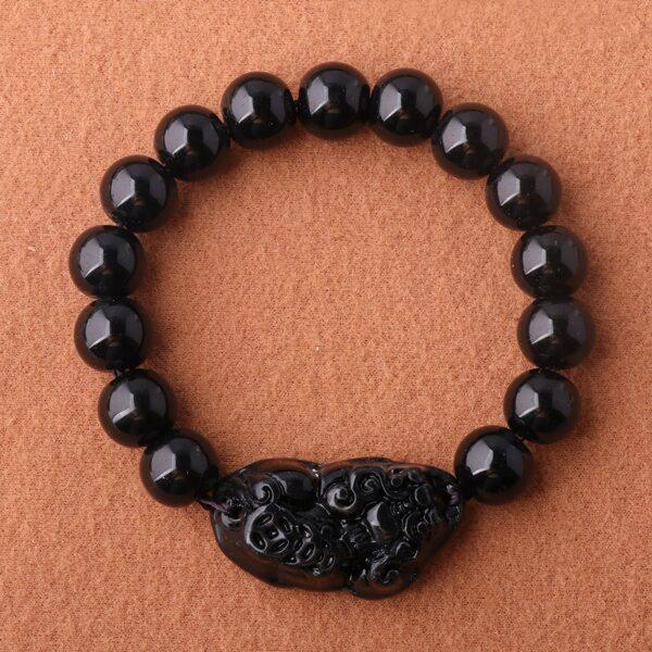 Animal Decor Beaded Bracelet, Black