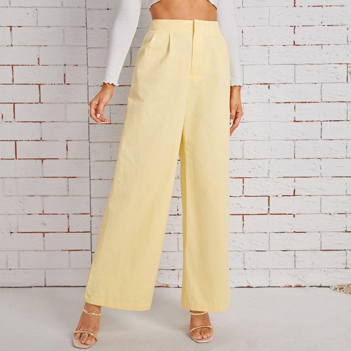 100% COTTON High Waist Fold Pleat Wide Leg Pants