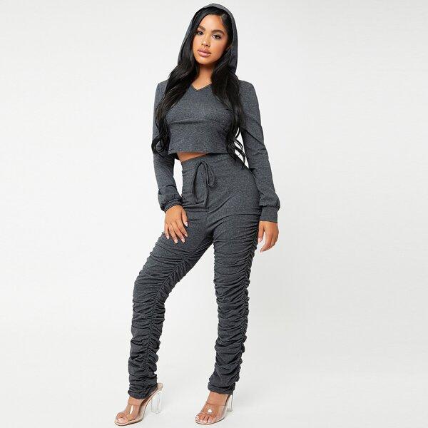 Marled Knit Crop Hoodie & Knot Front Ruched Hem Pants, Dark grey
