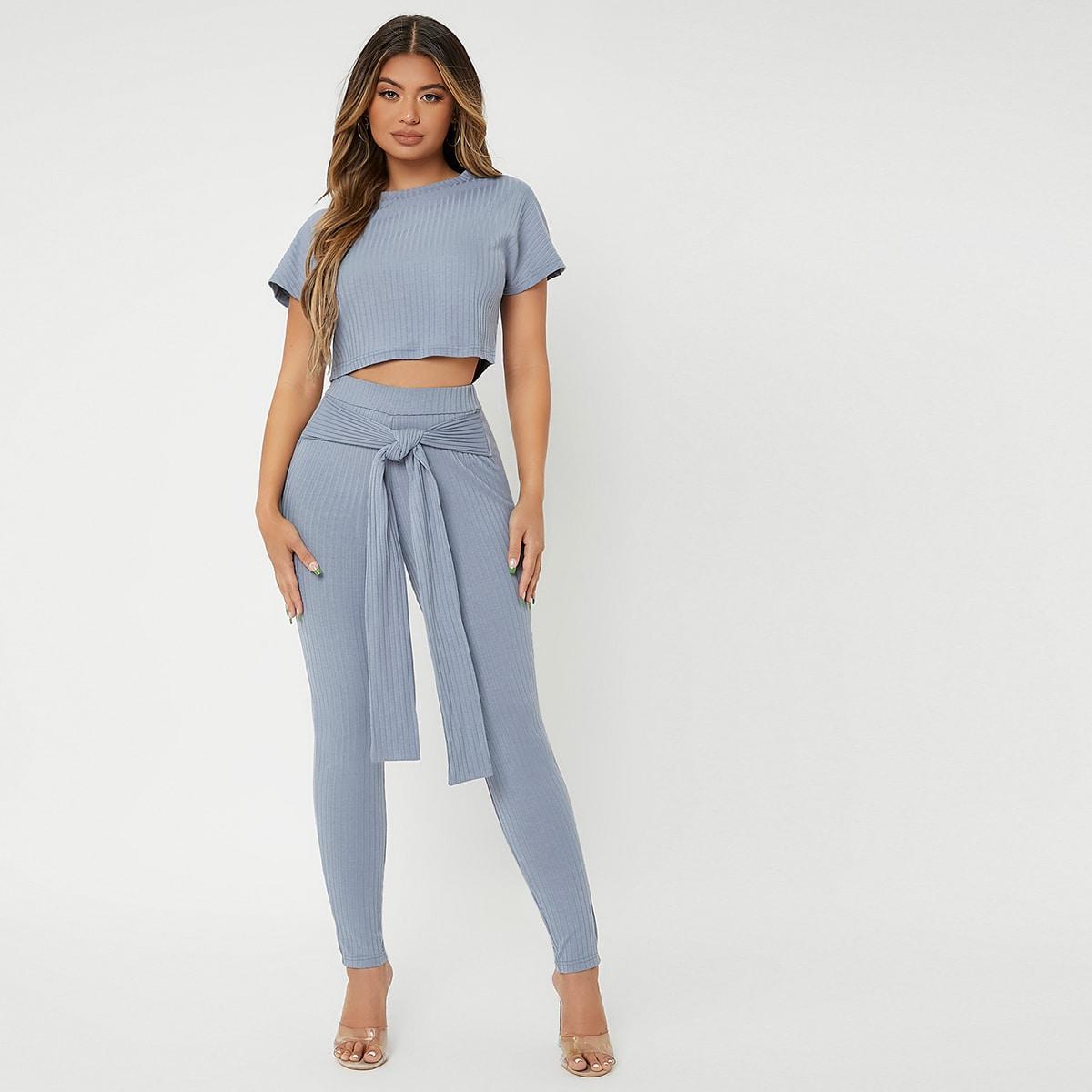 Rib Knit Crop Tee & Tie Front Skinny Pants
