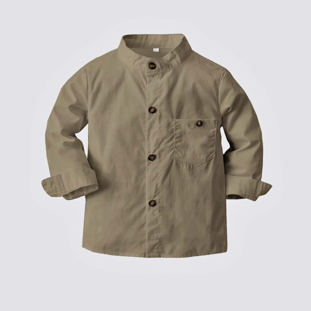 для мальчиков Рубашка с карманом с воротником-стойкой