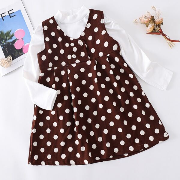 Girls Polka Dot Print Fold Pleated Dress & Stand Neck Top, Multicolor