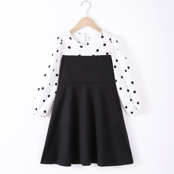 Girls Polka Dot 2 In 1 Bishop Sleeve Dress, Black and white