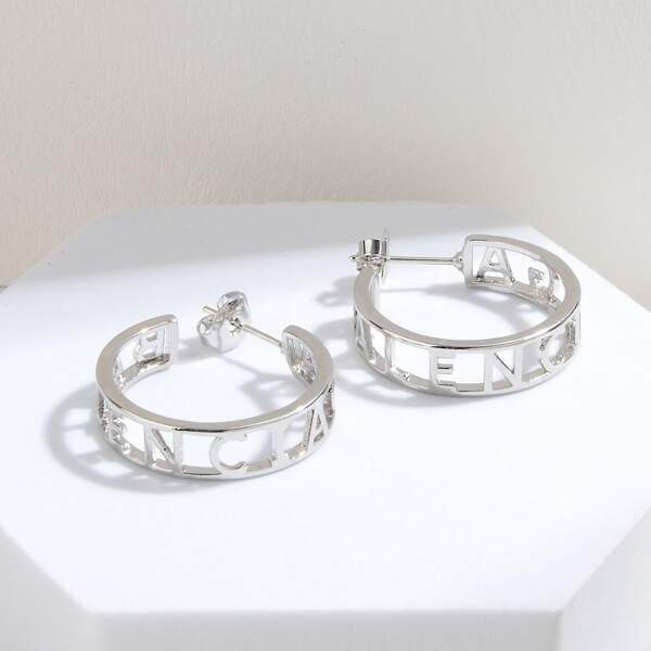 Letter Detail Hoop Earrings, Silver