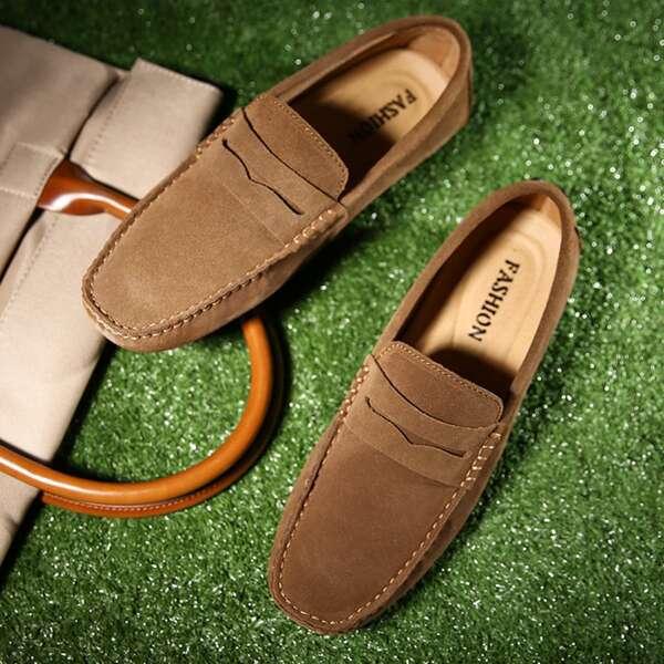 Men Minimalist Loafers, Coffee brown