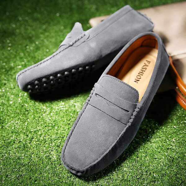 Men Minimalist Stitch Trim Loafers, Dark grey