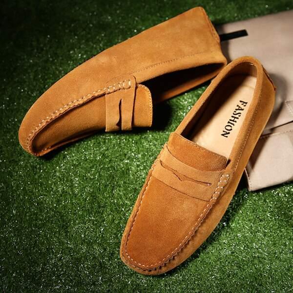 Men Minimalist Stitch Trim Loafers, Brown