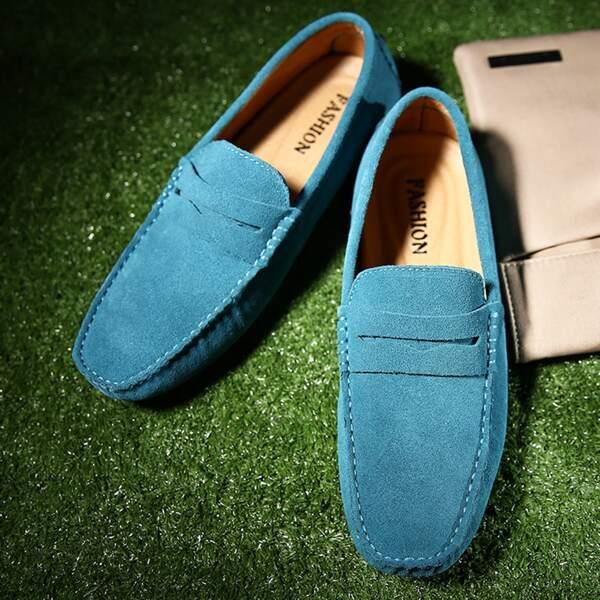 Men Stitch Trim Loafers, Blue