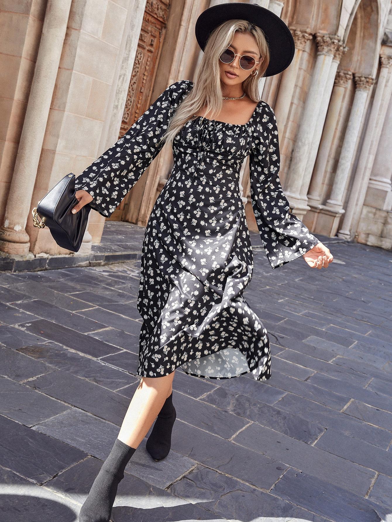 Платье А-силуэта с цветочным принтом с узломsw2108233413460311