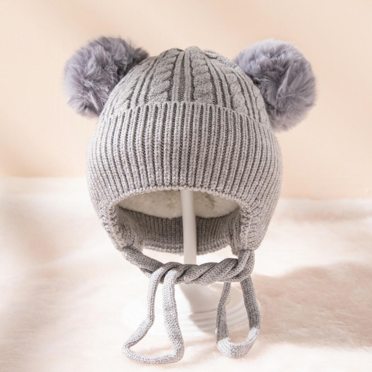 Детская шапка-бини с помпоном
