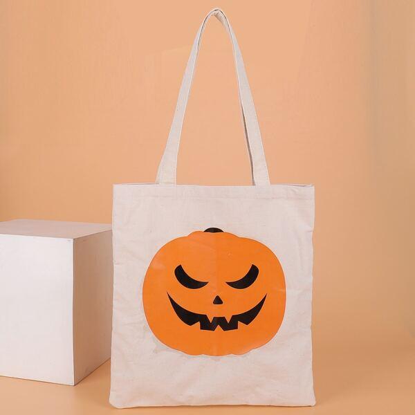 Halloween Graphic Shopper Bag, White