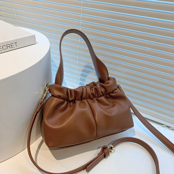 Minimalist Ruched Design Satchel Bag, Brown