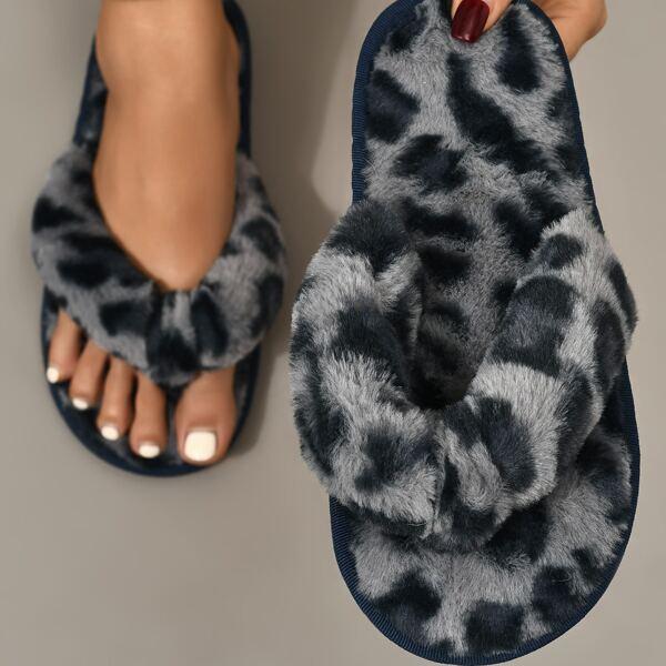 Fuzzy Leopard Pattern Slippers, Multicolor