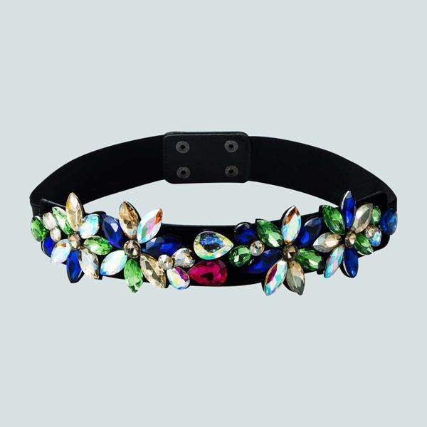 Gemstone Decor Corset Belt, Multicolor