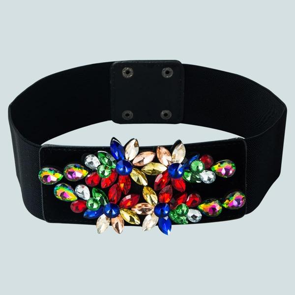 Rhinestone Flower Decor Corset Belt, Multicolor
