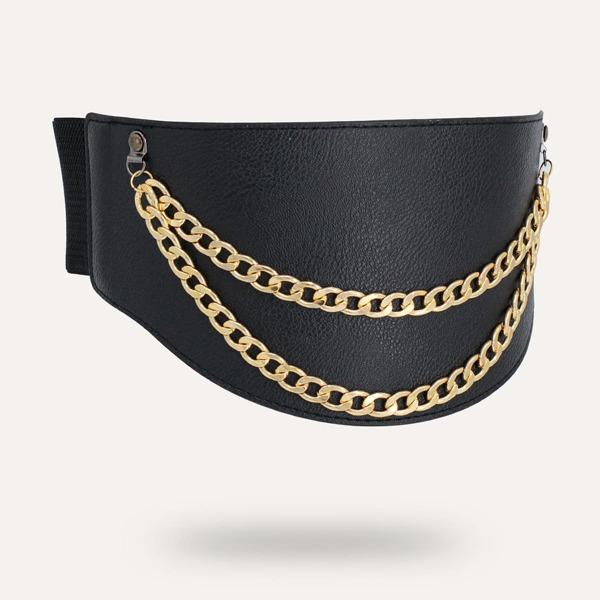 Chain Decor Corset Belt, Black
