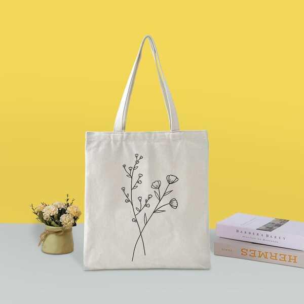 Floral Graphic Shopper Bag, Beige