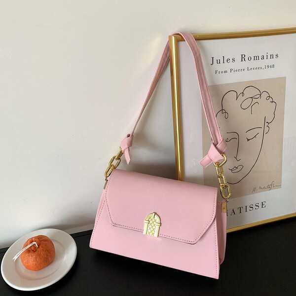 Girls Minimalist Flap Baguette Bag, Pink