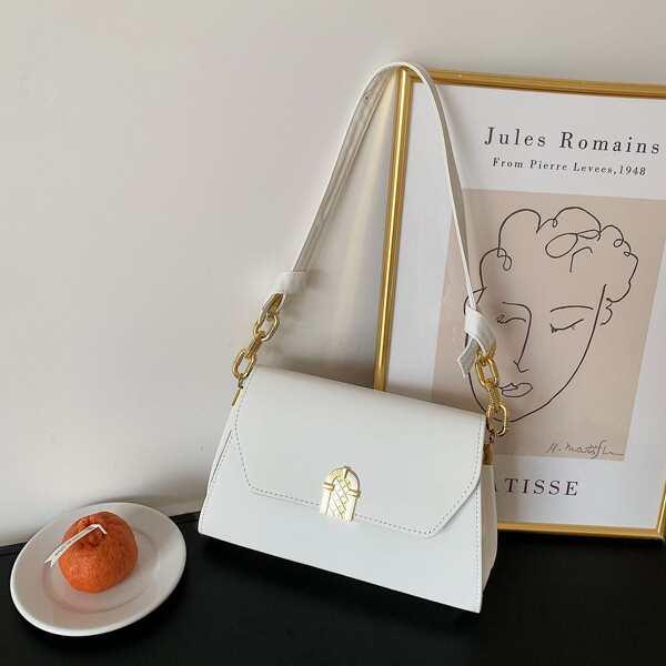 Girls Minimalist Flap Baguette Bag, White
