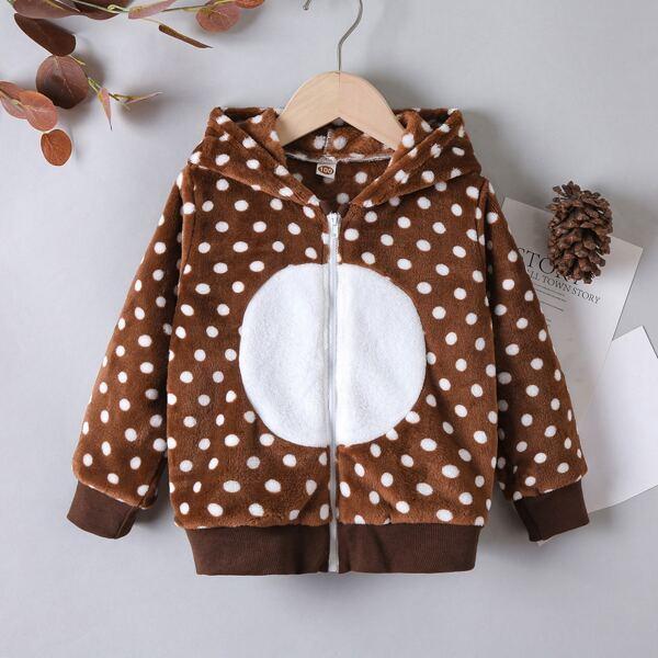 Toddler Boys Polka Dot Print Zip Up Hooded Flannel Jacket, Multicolor
